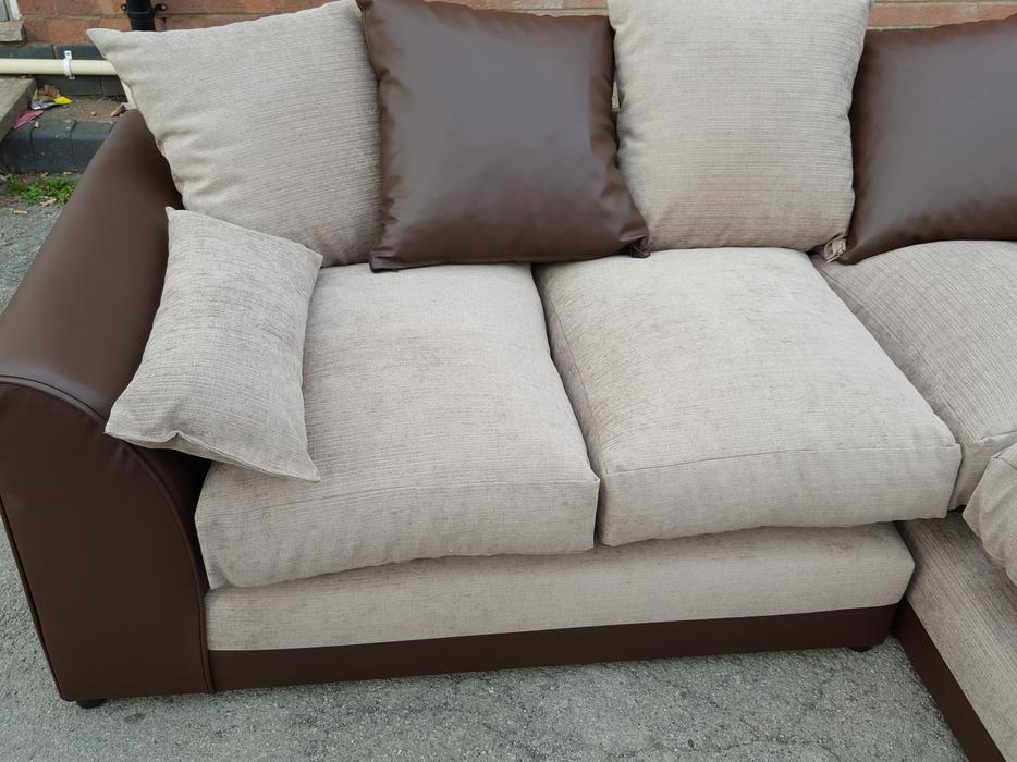 BRAND NEW Corner Sofa.Brown Leather Base And Beige Fabric