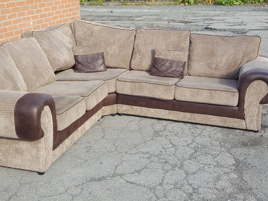 brown and beige cord large corner sofa 1 month. Black Bedroom Furniture Sets. Home Design Ideas