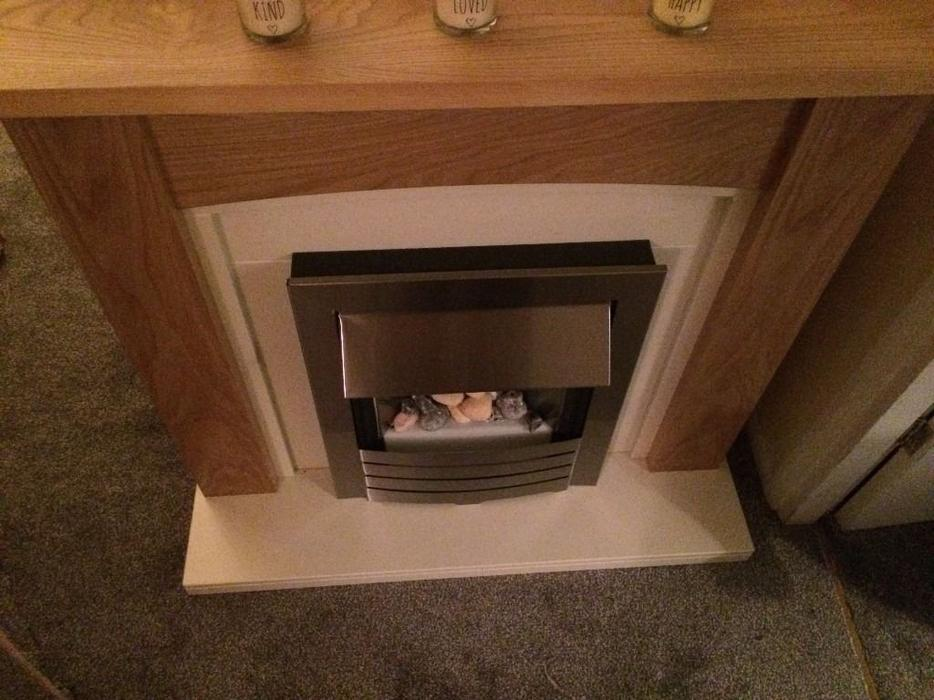Fireplace Suite Surround With Electric Fire Oak Silver
