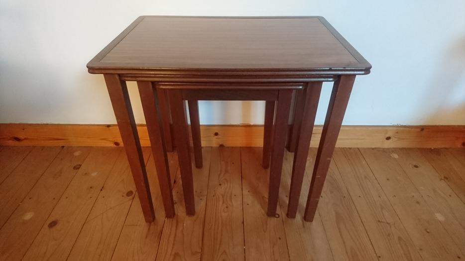 Used Display Tables ~ Vintage mid century fab nest of tables two tone wooden