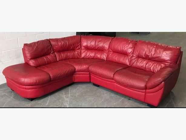 Dfs red leather corner sofa we deliver smethwick sandwell for Red corner sofa