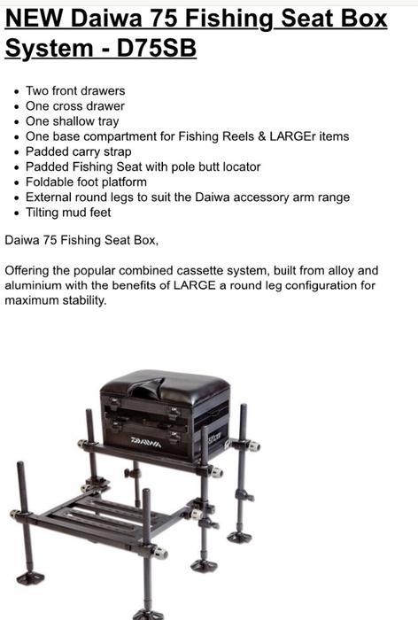 New Daiwa D75sb Seatbox Plus Extras Rowley Regis