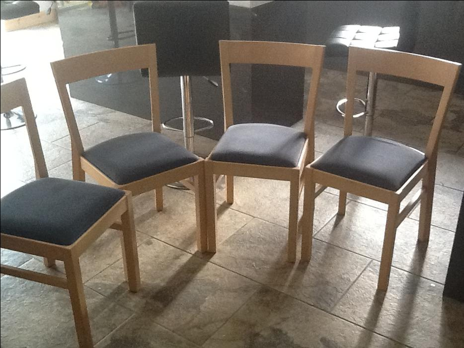 4 quality chairs solid wood padded seats dining room ...