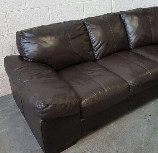 Leather Sofas At Dfs: HUGE DFS Brown Leather Corner Sofa&Storage Footstool.WE