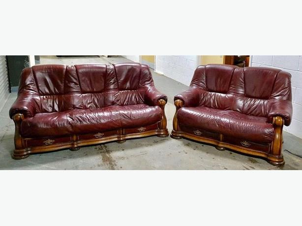 OxBlood Red Leather Oak Chesterfield Style 3&2 Sofa Set WE DELIVER Smethwick, Birmingham