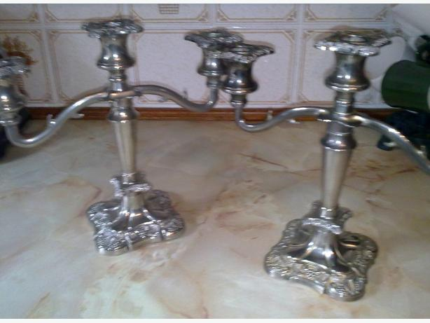 pair of sllver plate candle sticks
