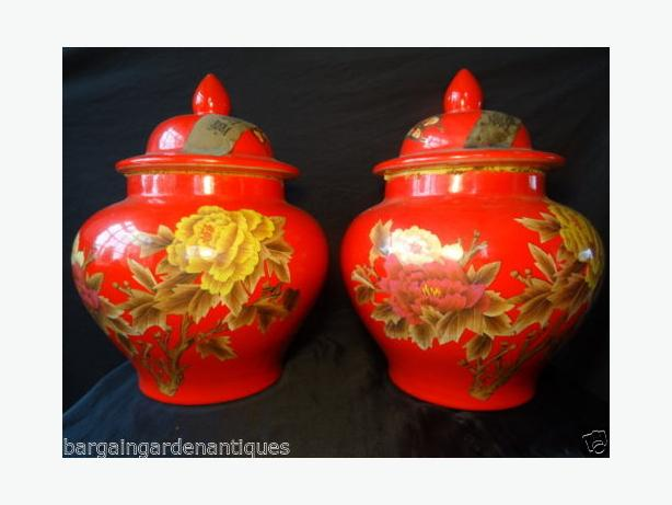 Pair Antique Rare Oriental Red Locust Butterfly Baluster Lidded China Tea Vases