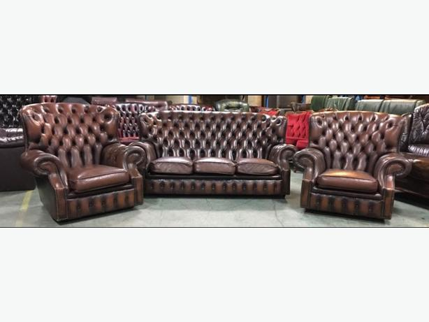 Super Log In Needed 649 Antique Brown Leather Chesterfield 3Pc Wingback Monks Sofa Set We Deliver Uk Download Free Architecture Designs Sospemadebymaigaardcom
