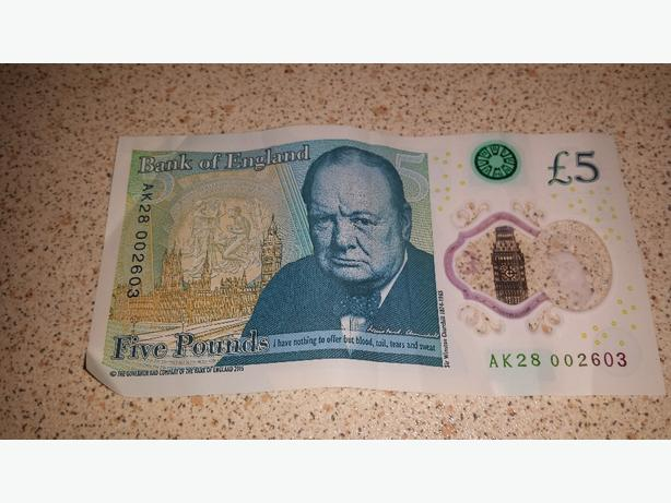 genuine AK bank of England  £5 note