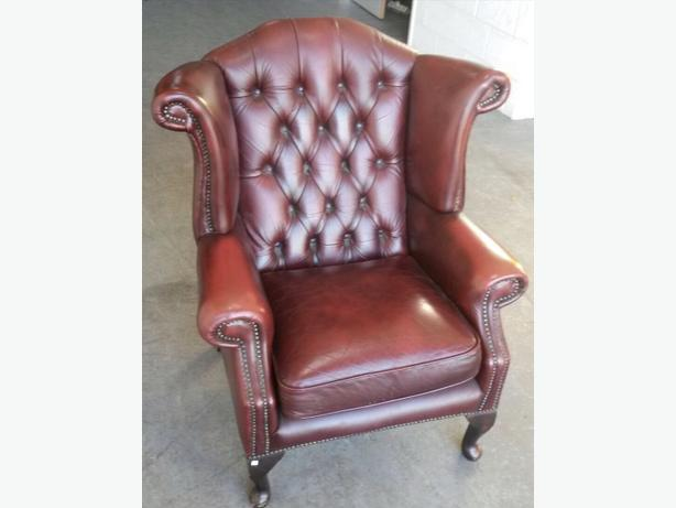 STUNNING Chesterfield Oxblood Red Leather St Ann's Wingback Armchair.WE DELIVER