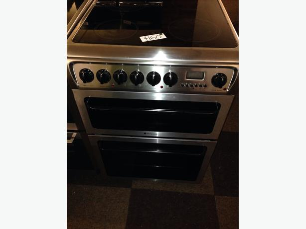 HOTPOINT STAINLESS STEEL FAN ASSISTED DOUBLE OVEN 60CM ELECTRIC COOKER