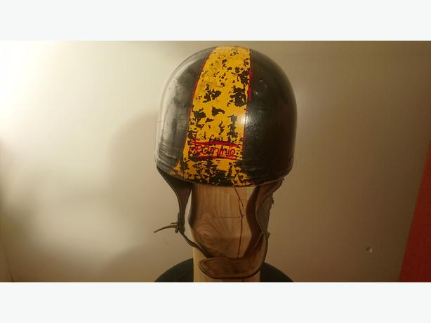 VINTAGE 1930S CROMWELL PUDDING CRASH HELMET CAFE RACER LEATHER COLLAR STRAP