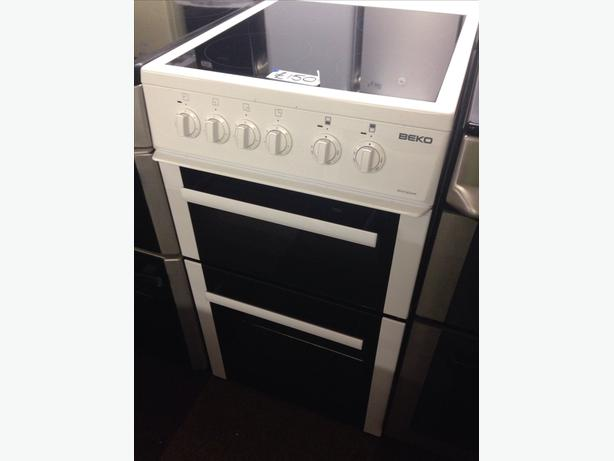 50CM BEKO WHITE FAN ASSISTED DOUBLE OVEN ELECTRIC COOKER