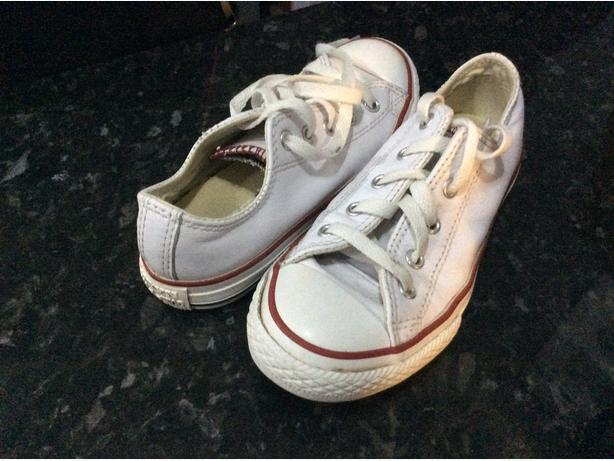 White leather converse size 13