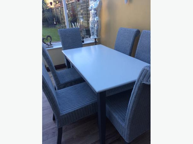 table and 6 wicker chairs