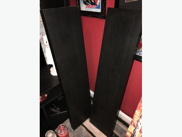 2 large black floating shelves