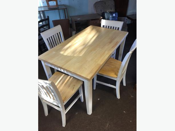 shabby chic creme table and 4 chairs