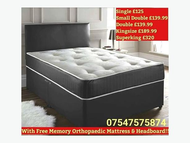 Brand New Divan + Headboard + Memory Orthopaedic Dual Mattress