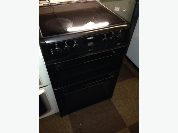 BLACK BEKO 60CM ELECTRIC COOKER FAN ASSISTED DOUBLE OVEN