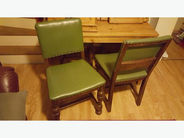 4 wood/ pvc dining chairs