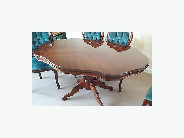 Italian inlay table six blue chairs