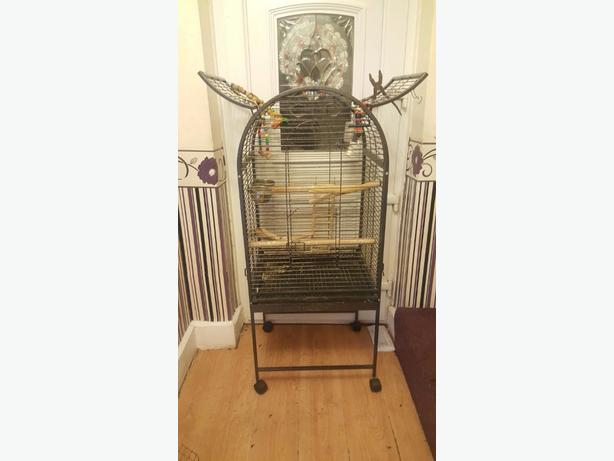 large bird cage with roof and side doors and accessories
