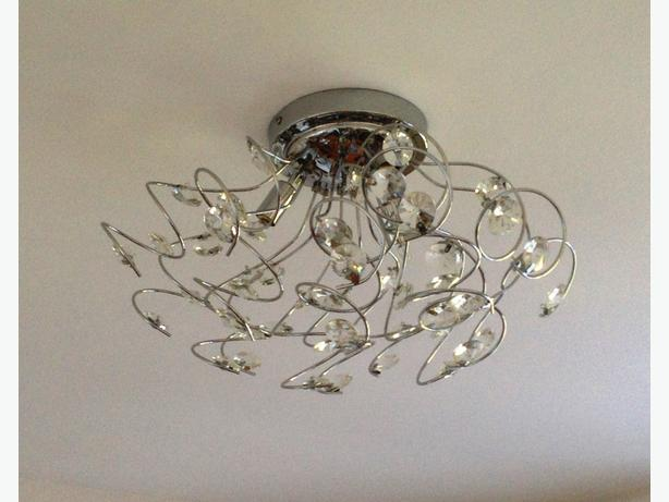 Crystal and chrome statement chandelier light and floor lamp