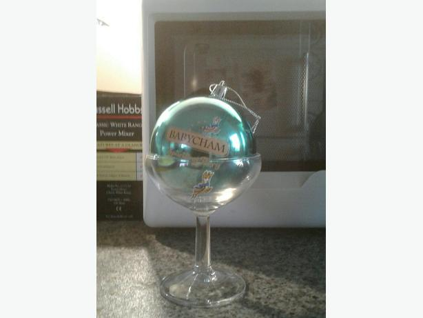 Babycham glass and christmas bauble