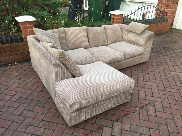Fabric corner sofa in light brown colour - good condition // free delivery