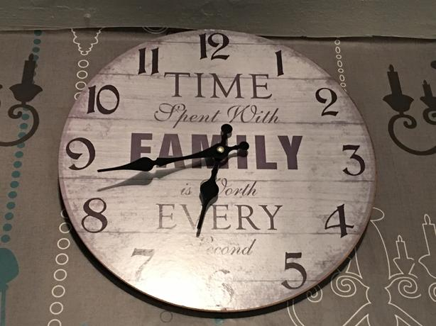 Grey clock with a lovely verse on