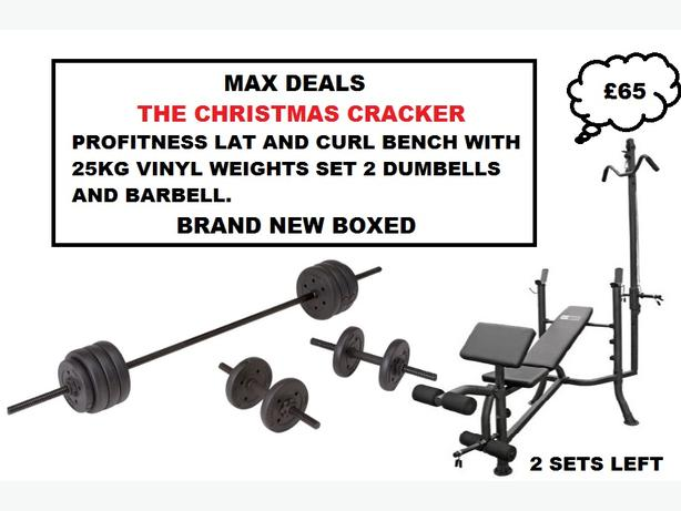 PROFITNESS LAT AND CURL BENCH 25KG VINYL WEIGHTS 2 DUMBELLS BARBELL BNB