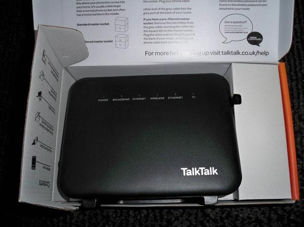 talktalk fibre router/hub/with box and cable