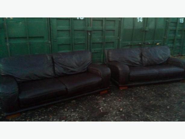 DFS Brown leather 3 and 3 seater sofas/ Delivery