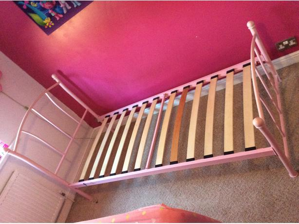 pink metal bed frame only