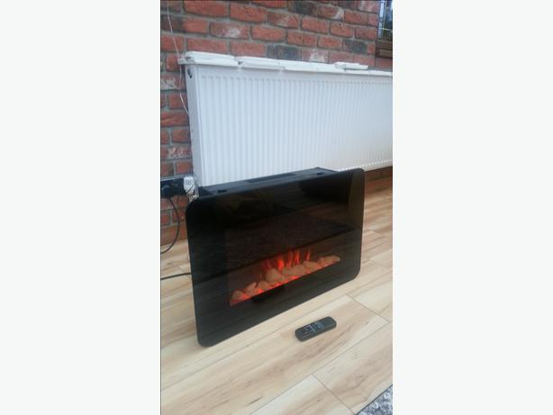 Wall Mounted Electric Fireplace Glass Heater Fire Remote Control Wednesbury Sandwell