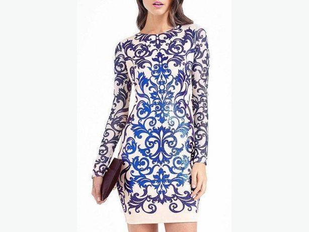 Elegant Round Collar Printed Long Sleeve Dress