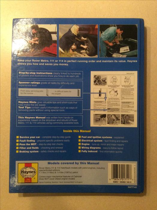haynes service manual for rover  metro walsall, sandwell