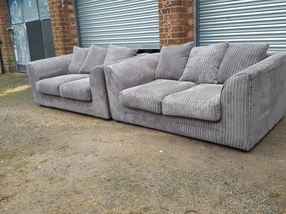 Brand New Grey Cord Sofa Suite Can Deliver Sandwell Dudley