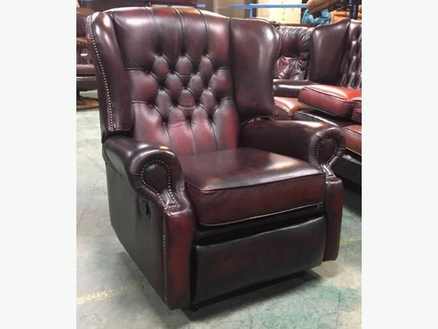 large ox blood leather chesterfield wingback recliner chair we deliver