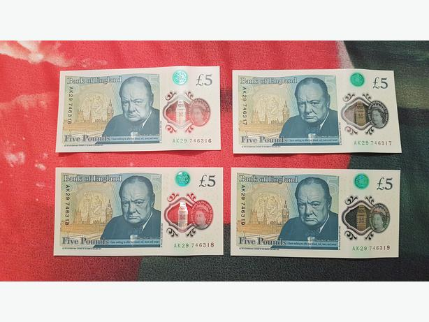 4 x £5 FIVE POUNDS NOTES - CONSECUTIVE NUMBERS