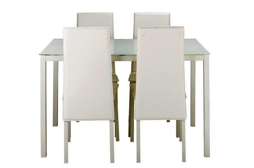 Hygena Lido Glass Dining Table and 4 Chairs White  : 106212399934 from www.usedsandwell.co.uk size 846 x 561 jpeg 24kB