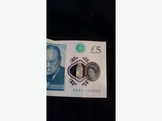 New £5 note AA47 code five pound note
