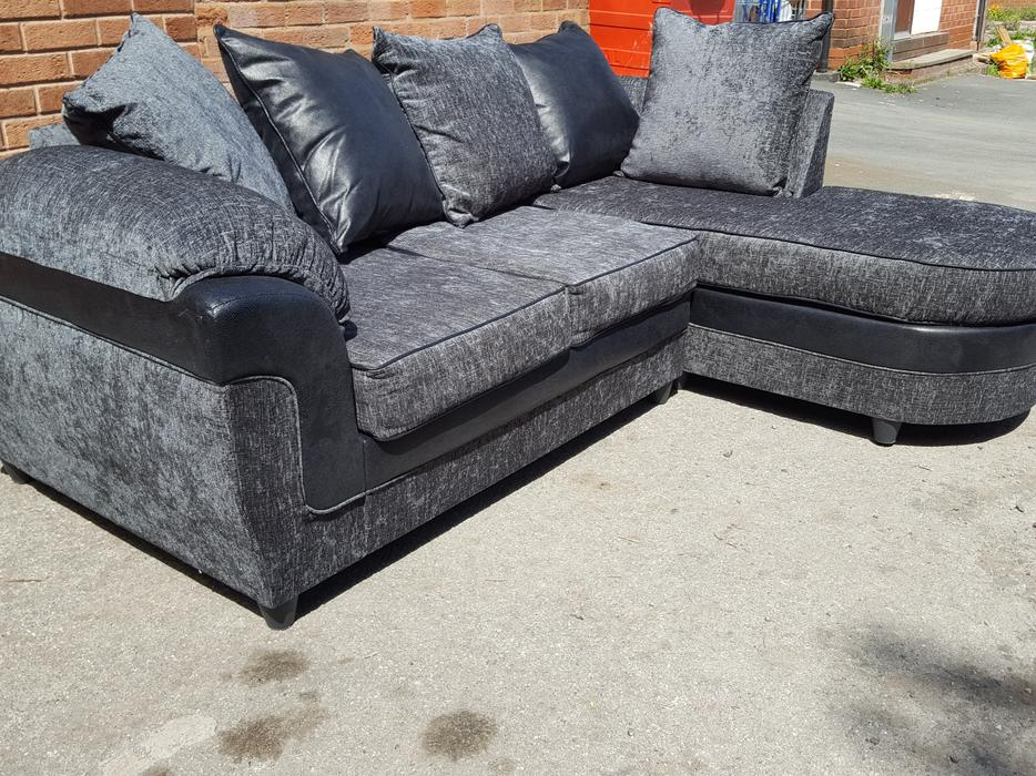 Brand New Black And Grey Fabric Corner Sofa Can Deliver