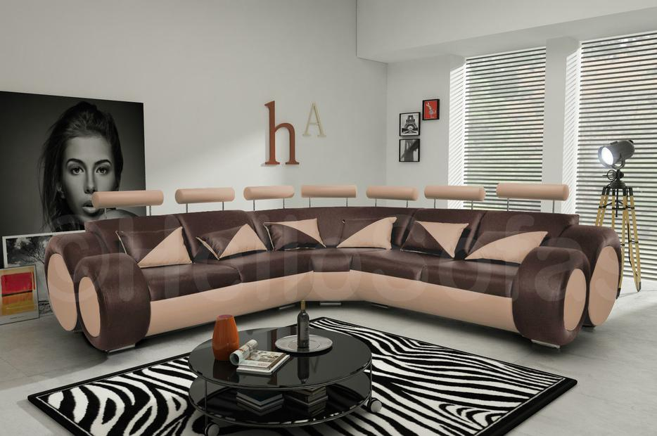 Brand New Brown And Beige Leather Large Corner