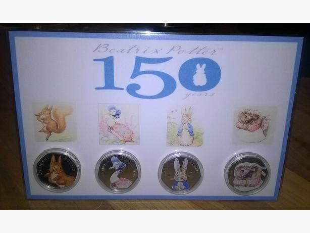 beatrix potter home made coloured 50p coin set