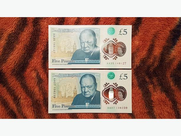 2 x £5 FIVE POUNDS NOTES WITH RARE AA NUMBER