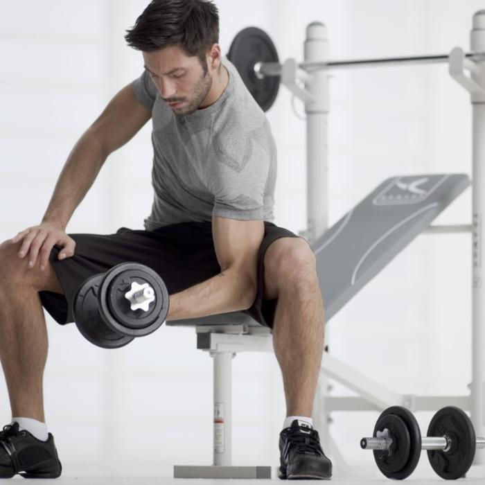 Dumbbell Set Decathlon: DOMYOS 30KG DUMBELL SET AND AB BENCH West Bromwich