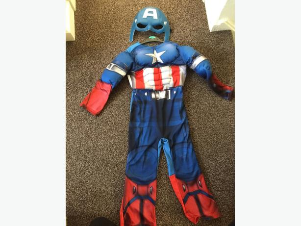 captain america costume & mask - 5-6 years  excellent