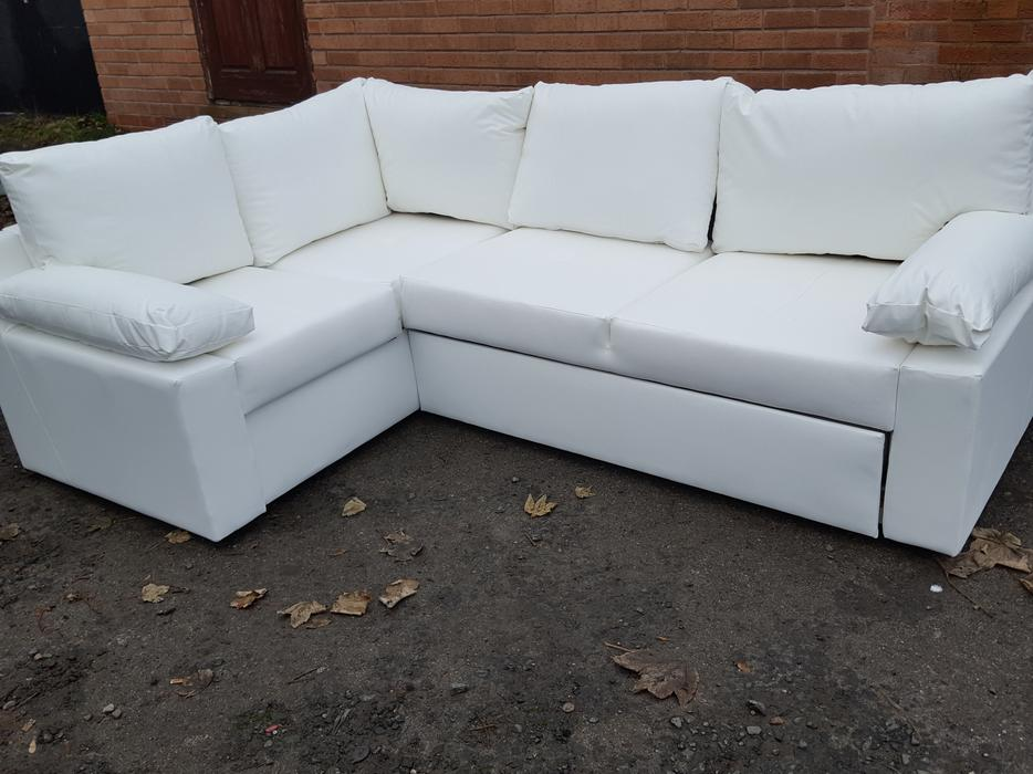 Brand new white leather corner sofa bed with for White divan bed with storage