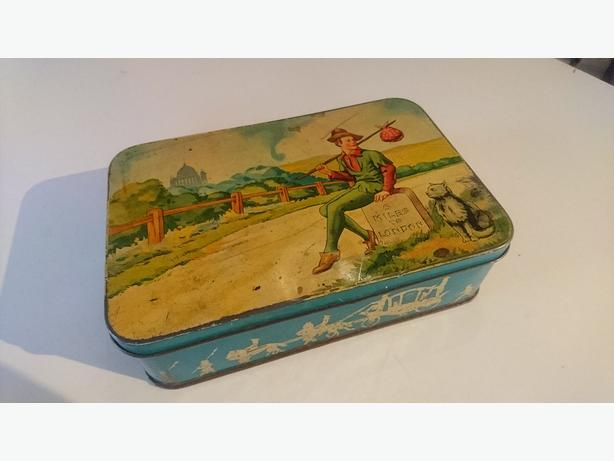 VINTAGE C1930S DICK WHITTINGTON WITH CAT COLLECTABLE SWEETS TIN STORAGE DECOR